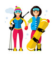 winter sports girl biathlon and snowboard vector image vector image