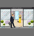 woman walking in a shoes boutique store flat style vector image