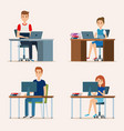 young people in the workplace scene vector image vector image