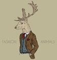 anthropomorphic design of deer dressed up in retro vector image vector image