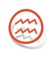 Aquarius sign sticker orange vector image vector image