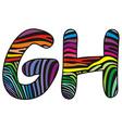 Background skin zebra shaped letter G H vector image vector image