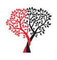 black and red trees and leafs vector image