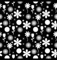 black and white flowers background pattern vector image vector image