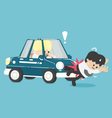 Business man hit by a car Flat vector image