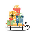 christmas sledge with present boxes vector image