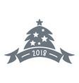 christmas tree logo simple gray style vector image
