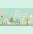 cute spring trees cartoon spring trees on blue vector image vector image