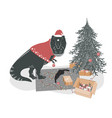 cute t rex dinosaur with a playing cat decorating vector image