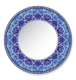 Dark blue decorative plate with pattern vector image