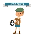 Driver boy with car rude isolated on white vector image vector image