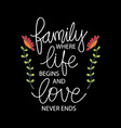 family where life begins and love never ends vector image vector image