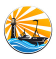 fishing boat and lighthouse vector image vector image