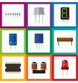 flat icon device set of transistor coil copper vector image vector image