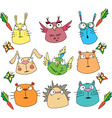 funny cartoon animals set vector image