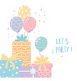 gift boxes with ribbon and balloons celebration vector image vector image