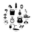 Gym sport icons set simple style