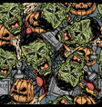 halloween colorful elements seamless pattern vector image