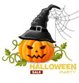 happy halloween background with pumpkin face vector image