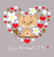 happy valentines day design with cute bear heart vector image