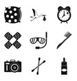 health camp icons set simple style vector image vector image