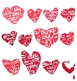 hearts with the different declarations of love vector image vector image