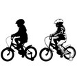 little girl riding bicycle silhouette and sketch vector image vector image