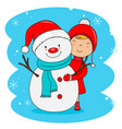 little girl with snowman vector image vector image