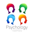 Modern head logo Set of Psychology Profile Human vector image vector image