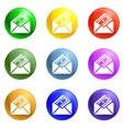 money envelope icons set vector image vector image