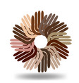 multi-ethnic hands in a circle icon vector image