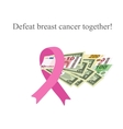 Pink Ribbon Breast Cancer Money for the diagnosis vector image vector image