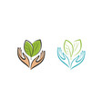 plant or leaves in hands logo agriculture health vector image vector image