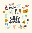 set icons safe greeting theme alternative vector image