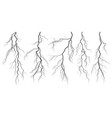 set of silhouettes of thunderstorm lightning vector image vector image