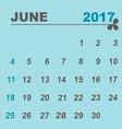 Simple calendar template of june 2017 vector image