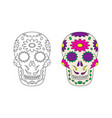 sugar skull line icon on white background vector image vector image