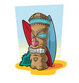 tiki totem in surf setting vector image