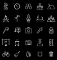 Trekking line icons on black background vector image vector image