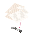 Usb Flash Memory with Pen and Blank Paper vector image