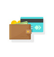 wallet with money and credit or debit card vector image vector image