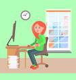 woman working office daytime vector image vector image