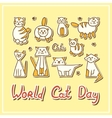 World Cat Day Card with cats on textured vector image vector image