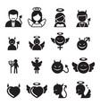 devil angel icon set vector image