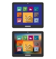 Graphs and charts on a tablet computer vector image