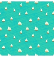 Nautical pattern with small boats on waves vector image