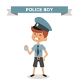 Police boy with sign isolated on white vector image