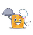 chef waffle character cartoon design with food vector image