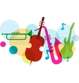 music template with notes guitar and saxophone vector image