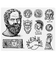 ancient greece antique symbols socrates head vector image vector image